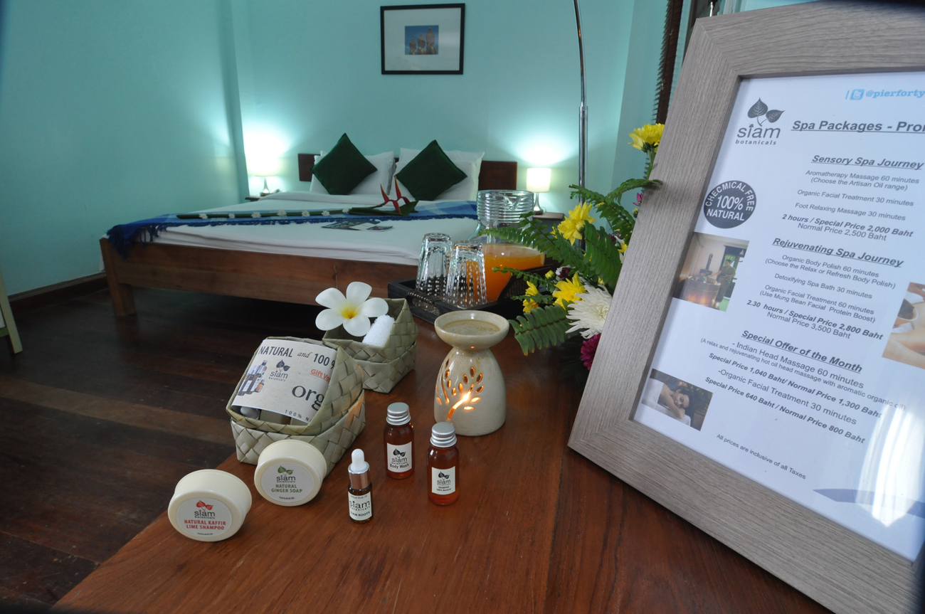 Spa products and menu at Pier 42