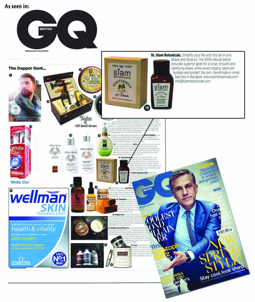 Siam Botanicals shave oil in GQ magazine