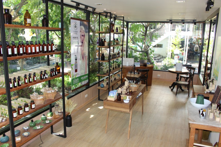 Interior of Siam Botanicals store with products on display