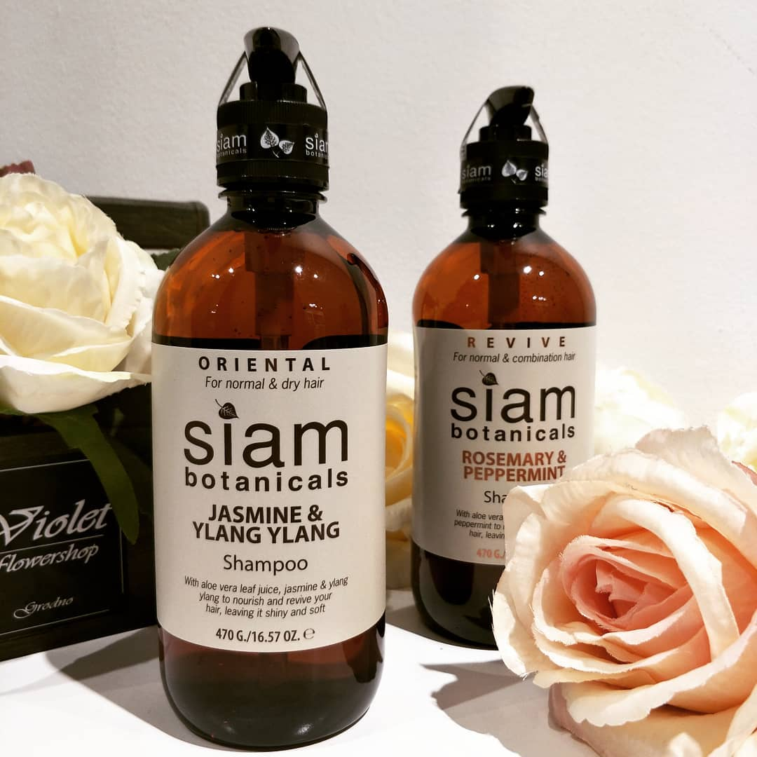 siam botanicals shampoos: rosemary and peppermint, ylang ylang
